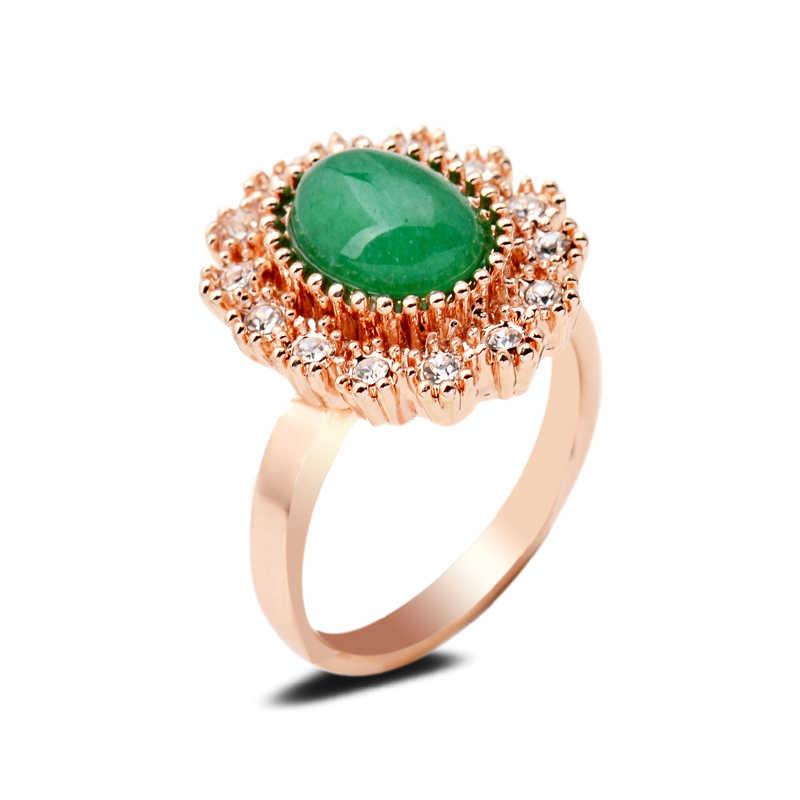 สีเขียวธรรมชาติหยกหินแหวนชุดรังผึ้งคริสตัลอินเทอร์เฟซอัญมณี Golden Silver 7/8/9 เลือกขนาดสำหรับเครื่องประดับ Party Party