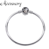 Moonmory 100 925 Sterling Silver Poetic Blooms CZ Charms Bangles For Women Luxury Brand Jewelry Pulseira