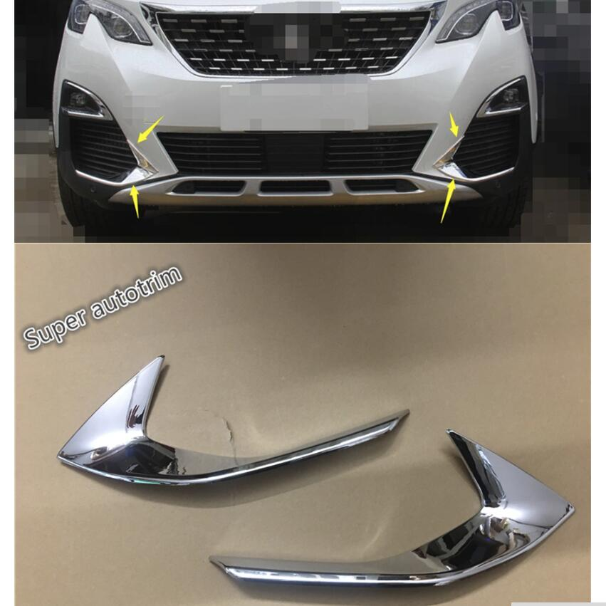 Lapetus For Peugeot 3008 3008GT 2017 2018 ABS Bright Chrome Front Head Fog Light Foglight Lamp Eyelid Eyebrow Cover Trim 2 Pcs front bumper foglight decoration strip 2 pcs