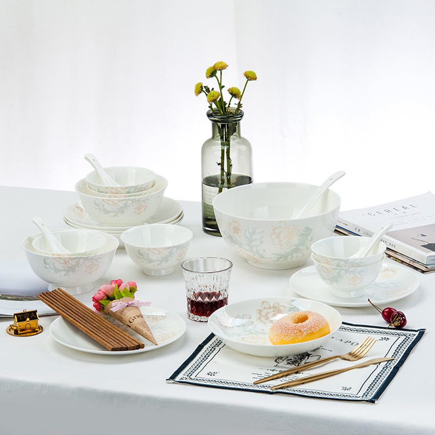 28 pièces/ensemble os chine assiettes en céramique plat plat riz salade nouilles bol assiettes à soupe vaisselle ensembles cuisine cuisinier outil