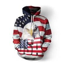 ONSEME Для мужчин/Для женщин флаг США Орел 3D толстовки пуловеры круто Волк животных печати с капюшоном Толстовка в стиле хип-хоп Прямая поставка