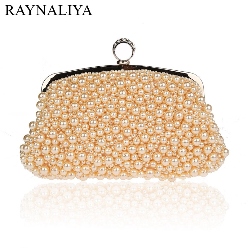 Elegant Ladies Pearl Beaded Evening Bag Diamond Ring Clutch Fashion Women Hand Bags Wedding Dinner Party Purse SMYSFX-E0163