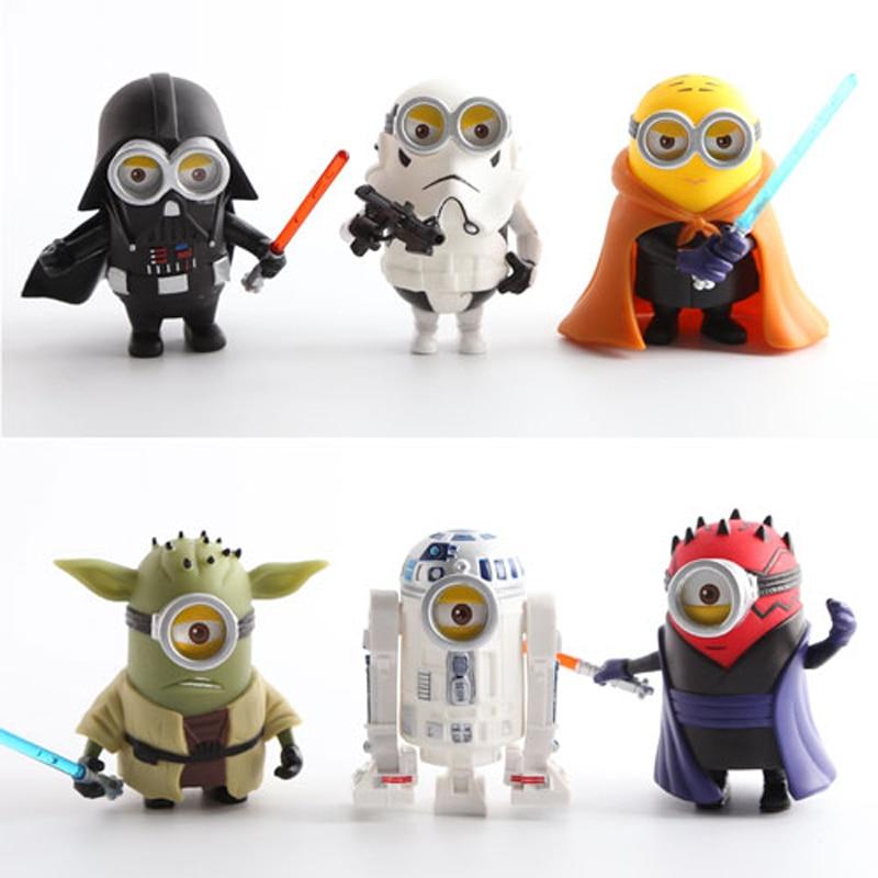 6 Teile/satz Minion Cos Star Wars Yoda Darth Maul Darth Vader R2-D2...