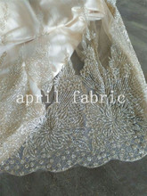 2015 summer new light white and golden  hand printed flower fabric for sawing/wedding design ,free shipping by dhl !