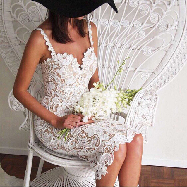 2018 Fashion Designer White/ Black Party dress Women Sexy Sleeveless Lace Crochet Hollow Out Slim Spaghetti Strap Bodycon Dress 13