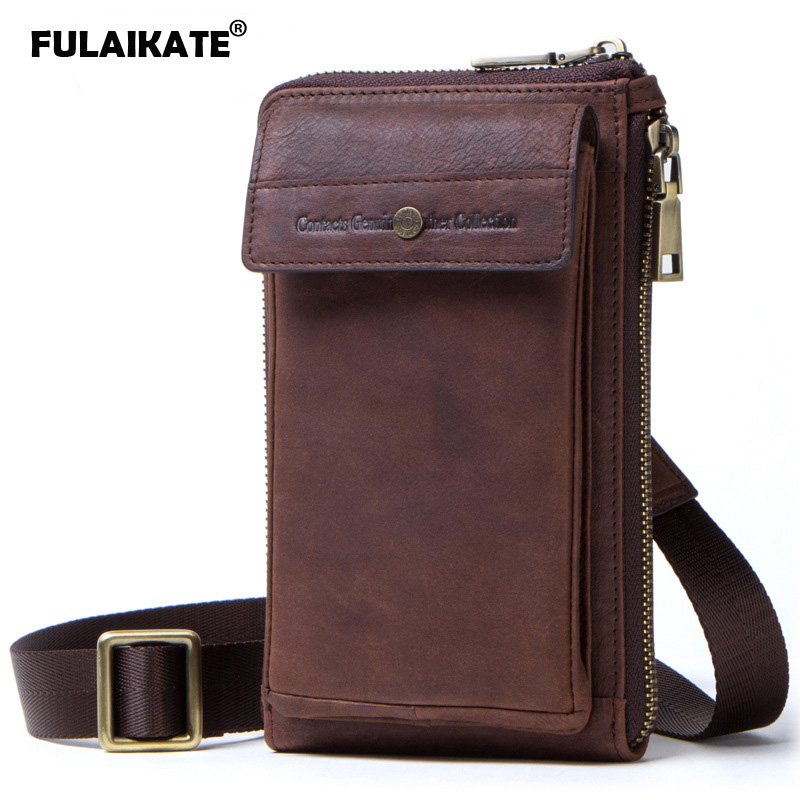 FULAIKATE 6.0 Vintage Crazy Horse Genuine Leather Mens Pouch for iPhone X Xs One-Shoulder Sling Bag Crossbody Universal BagFULAIKATE 6.0 Vintage Crazy Horse Genuine Leather Mens Pouch for iPhone X Xs One-Shoulder Sling Bag Crossbody Universal Bag