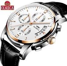 3006c102989 OLMECA Moda masculina Relógio de Pulso Branco Relógios De Quartzo Auto Data  Cronógrafo Luminosa À Prova