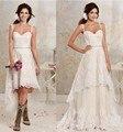 Wedding Dress 2017 Bridal Detachable Lace Country Spaghetti High Low Bride Bridal Gown Vestido Noiva Casamento Robe De Marriage