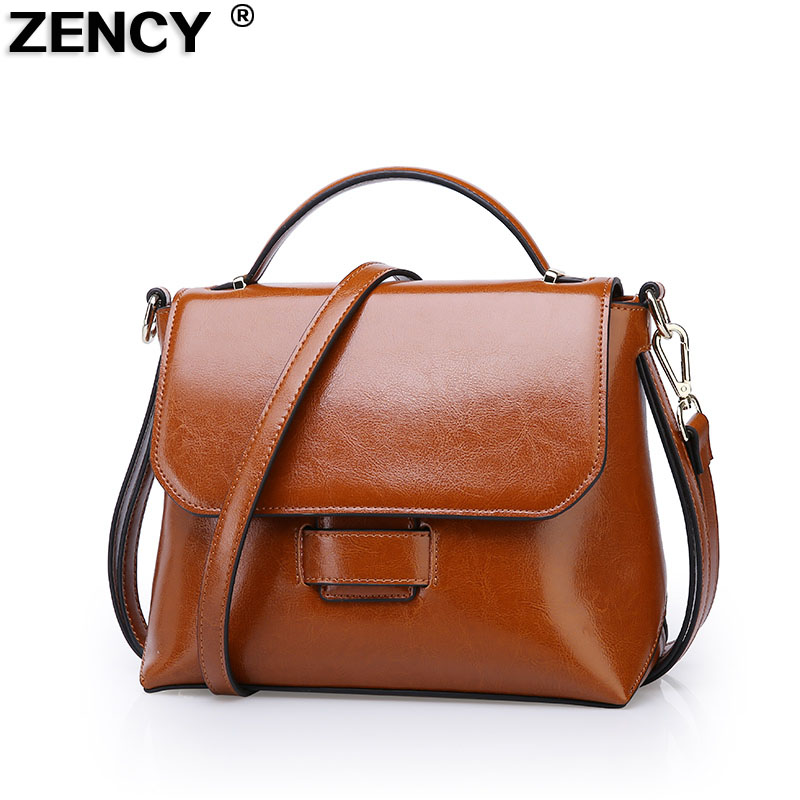2017 Genuine Leather Summer Women Tote Girl Elegant Handbags Second Layer Oil Wax Cowhide Female Crossbody Messenger Bags 2017 women leather handbags summer new oil wax cowhide handbags female retro handbag fashion simple shoulder messenger bags