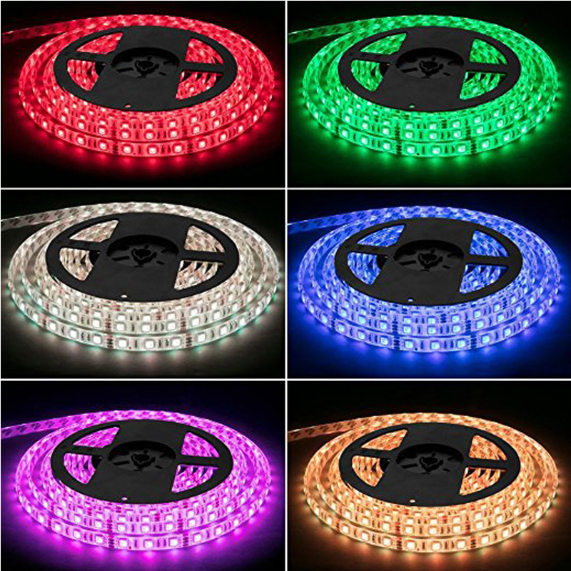 LED Light Strip Kit RGB LED Strip Waterproof SMD 5050 RGB 16.4Ft/5M 300 LEDs with 44Key Remote Controller Power Supply home