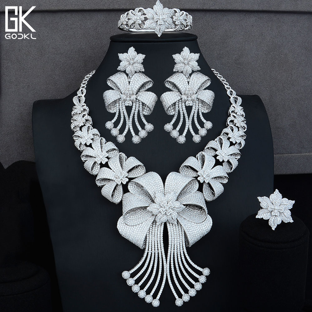 GODKI BIG Luxury 4PCS African Jewelry Sets For Women Wedding Cubic Zircon Crystal CZ Engagement Dubai Silver Bridal Jewelry Sets