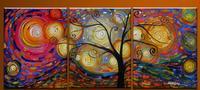 100% יד צבוע תקציר נוף חם מיוחד יצירות אמנות ציורי שמן אמנות עיצוב קיר בית על עץ חיים רחב מימדים CanvasLarge