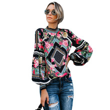 hot deal buy spring 2019 black bohemian floral women blouse shirts long sleeve smocked neckline floral print female tops