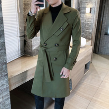 Осеннее пальто мужчины ветрозащитный ветер пальто тонкий суперобложка мужской воротник поворота