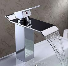 Недавно современные простой ванная комната водопад широкое бассейна раковина кран-хромированная польский одной ручкой на одно отверстие смесителя палуба гора