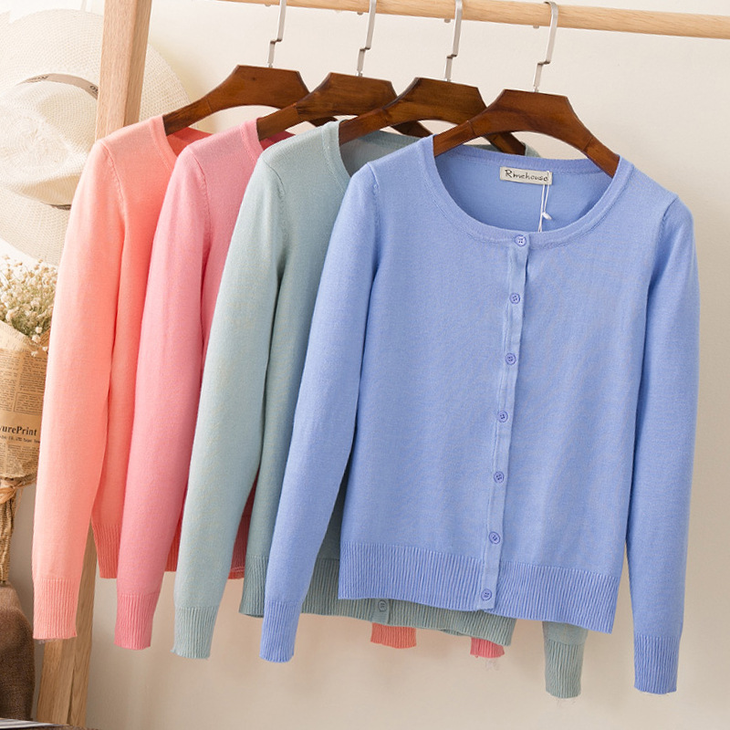 O Neck Spring And Autumn Loose Sweater Long-sleeved 2020 Fashion Hot Sale Thin Women Cardigan  18287