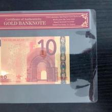 Поддельные золотые Банкноты евро 10 евро чистая Золотая фольга бумага деньги золото банкноты с КоА рамкой для сбора банкнот