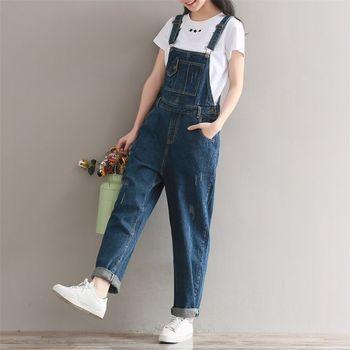 Женский джинсовый комбинезон, повседневный Свободный комбинезон большого размера с широкими штанинами, ZL6720, 2018