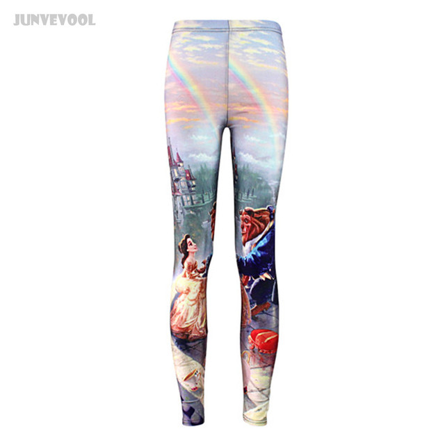 Princess Leggings Women Middle Waist Fitness Trousers Womens Sexy Hip Push Up Pants Lady Pencil Slim Pants Castle Prince Capris