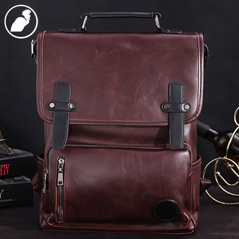 ETONWEAG Brands Cow Leather Schoolbag Backpack Brown Vintage School Bags For Teenagers Preppy Fashion Laptop Bag Back To School male bag vintage cow leather school bags for teenagers travel laptop bag casual shoulder bags men backpacksreal leather backpack