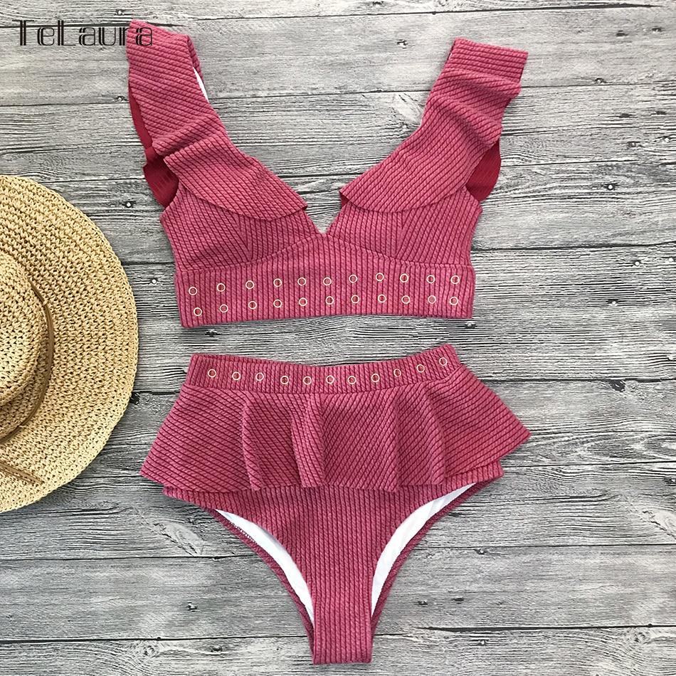 HTB1XVIbaN2rK1RkSnhJq6ykdpXaD 2019 New High Waist Bikini Swimwear Women Swimsuit Push Up Bikinis Women Bathing Suit Biquini Ruffle Bikini Summer Beach Wear