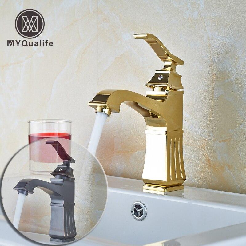 Роскошные смеситель воды Ванная комната сосуд Раковина кран Одной ручкой бассейна смесители бортике масло втирают бронза и золото