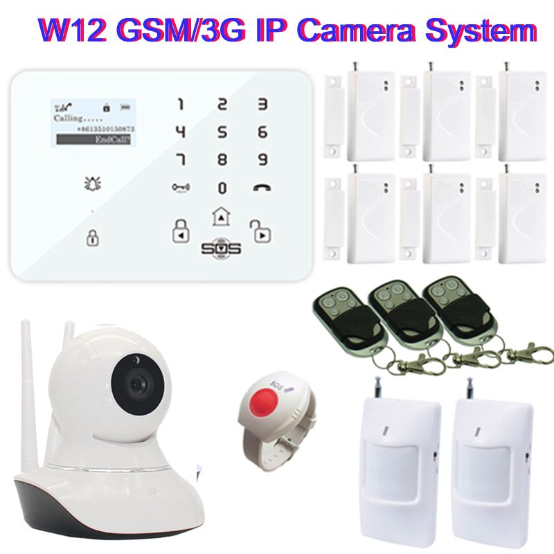 GSM Wifi Camera 720P Home Security IP Camera Wireless SMS Camera GSM Alarm Panel Smart Remote Control SOS Panic Button W12E wireless remote control power socket smart rf socket control power for home appliance compatible with g90b wifi gsm sms alarm