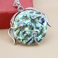 42mm Hot sale Natural color Abalone seashells Round pendant Flower wisteria decorative making jewelry design diy gifts Series