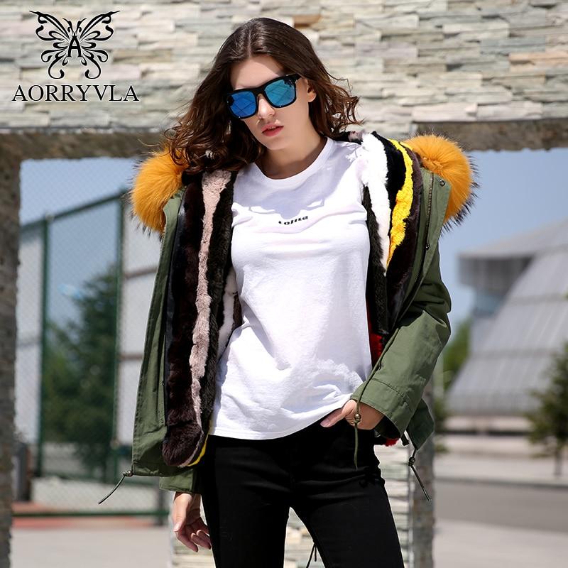 AORRYVLA Real Fur   Parka   For Women Winter 2018 Short Jacket Army Green Large Raccoon Fur Collar Hooded Rabbit Fur Liner Warm Coat