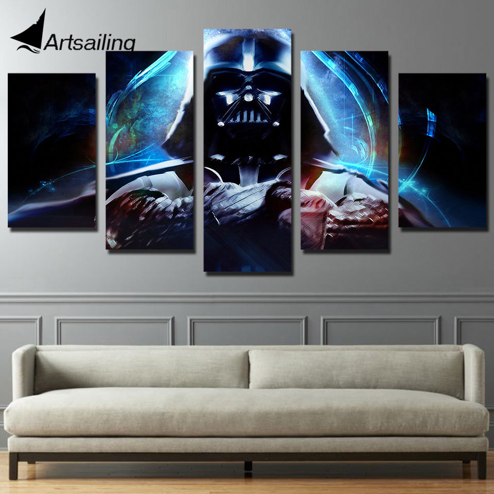 star wars wall art ٩(^‿^)۶HD 5 Pieces Canvas Paintings Printed Movie Star Wars Wall  star wars wall art