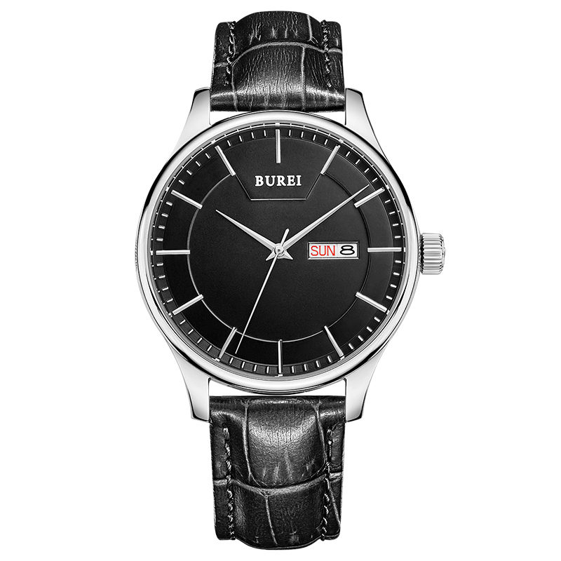 BUREI Brand Men Sapphire Crystal Clock Quartz Watch Waterproof Calendar Display Fashion Wristwatches With Premiums Package 13001 burei brand crystal sapphire men sports automatic mechanical watch waterproof male wristwatches with premiums package 15009