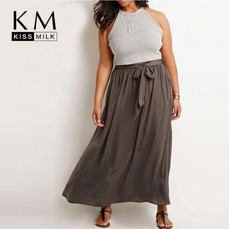 Kissmilk 2016 Plus Size Women Summer Full Length Large Big Size Casual Drawstring Bohemian Long Maxi