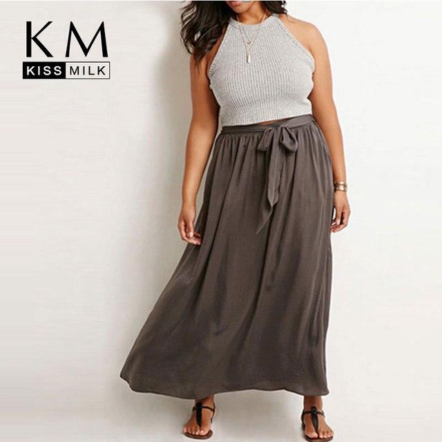 Kissmilk 2018 плюс Размеры Для женщин летние полной длины большие Размеры Повседневное Drawstring чешские длиной макси юбка-трапеция