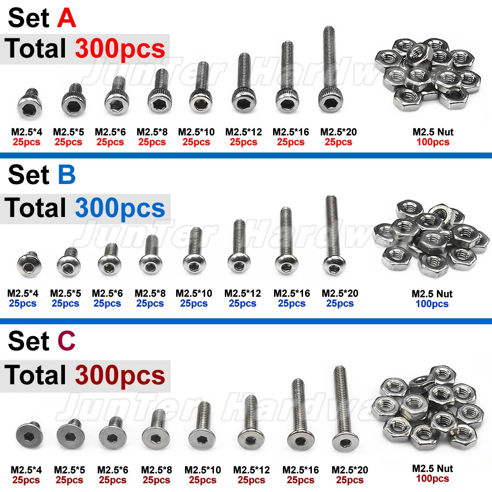 300pcs M2.5(2.5mm) A2 Stainless Steel Allen Bolts Hex Button Flat Socket Head Cap Screws With Nuts Assortment шапки меховая фантазия шапка