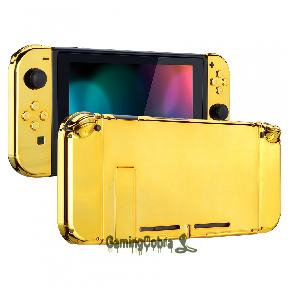 Chrome Gold Back Plate W/ Controller Housing Shell W/ Full Set Buttons For Nintendo Switch Handheld Console & Joy-Con