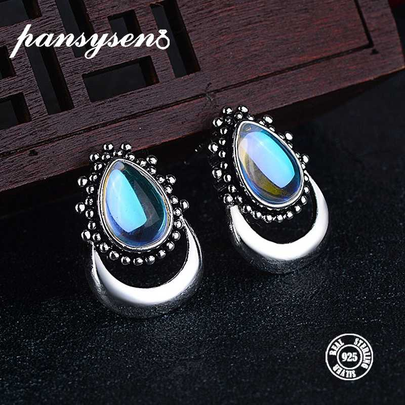 PANSYSEN Top Quality Water Drop 12*20mm Created Moonstone Stud Earrings for Women 925 Silver Jewelry Earrings Wholesale Gifts