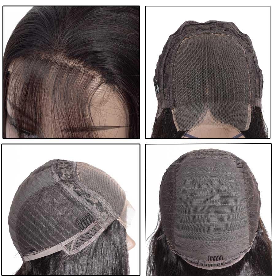 HTB1XVJjcRGw3KVjSZFwq6zQ2FXaN 10-28 inch wigs Brazilian 4x4 Closure Wig 100% Human Hair Lace Wigs Long Straight Remy Lace Closure Wigs for Woman 150 Density
