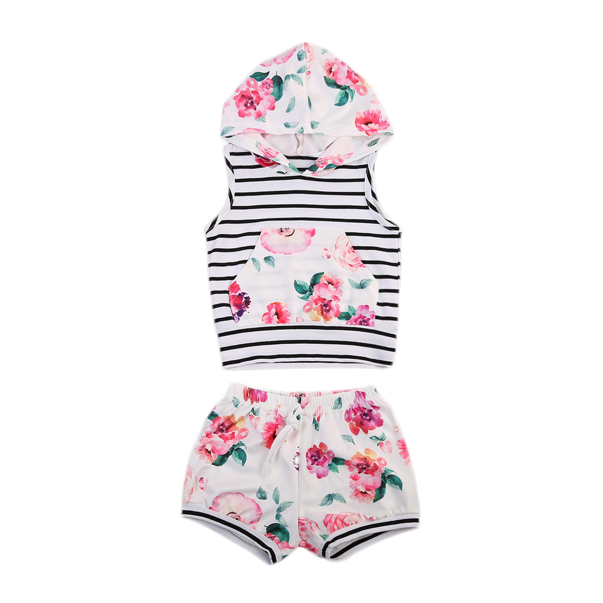 Newborn Baby Girls Clothes Set Cotton Striped Sleeveless Hooded Tops Floral Shorts Pants Outfits Girl Clothing Summer 2Pcs kid newborn summer clothes toddler baby boy girl sleeveless floral cotton romper outfits sunsuit