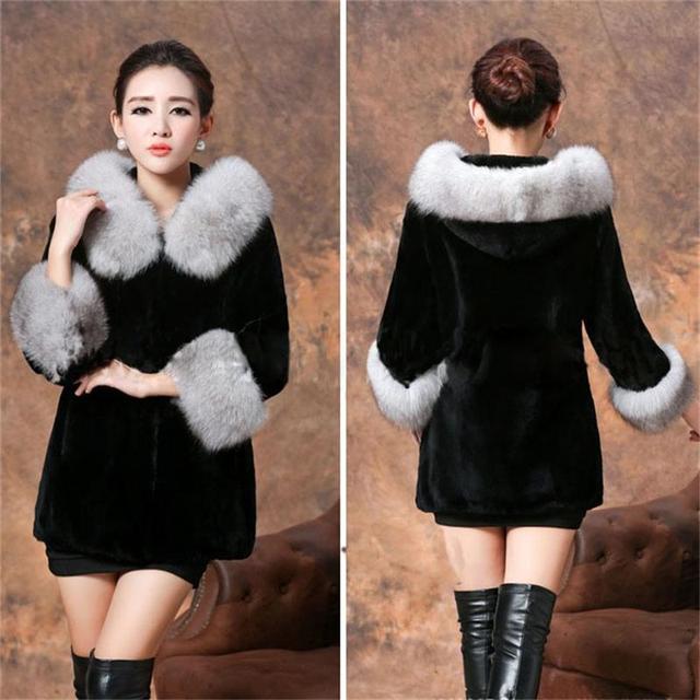Femmes automne et hiver new Slim noir couleur manteau de fourrure dame Rex  lapin chaud outwear 3e24968103b