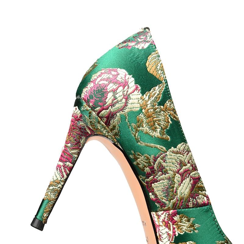 Minces Pointu De Soie Talons Mariage Chaussures Pompes Hauts Sexy Femmes Sur Supérieure Printemps Broder Femme Glissent Doratasia vert Noir Bout 2018 a4XqWgSWBO