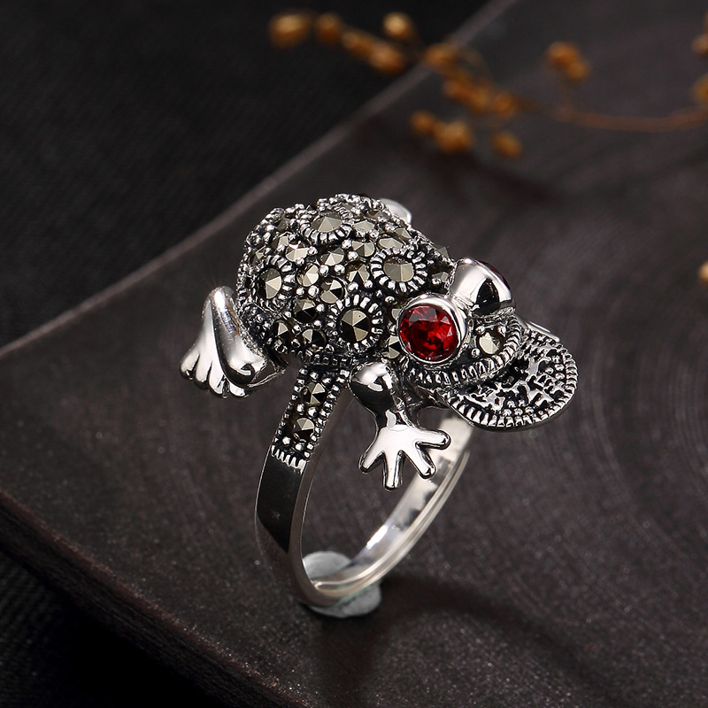 silver S925 Sterling Silver Marcasite sterling silver ring inlaid female toad opening retro silver ring