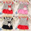 2017 Spring and Autumn girls cotton striped long-sleeved dress princess dress children baby dress