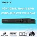 WANLIN 4CH CCTV 1080N AHD-М DVR Hybrid DVR NVR Регистрация Цифровой видео Рекордер P2P Облако Поддержка 1080 P CVBS CVI TVI AHD IP Cam