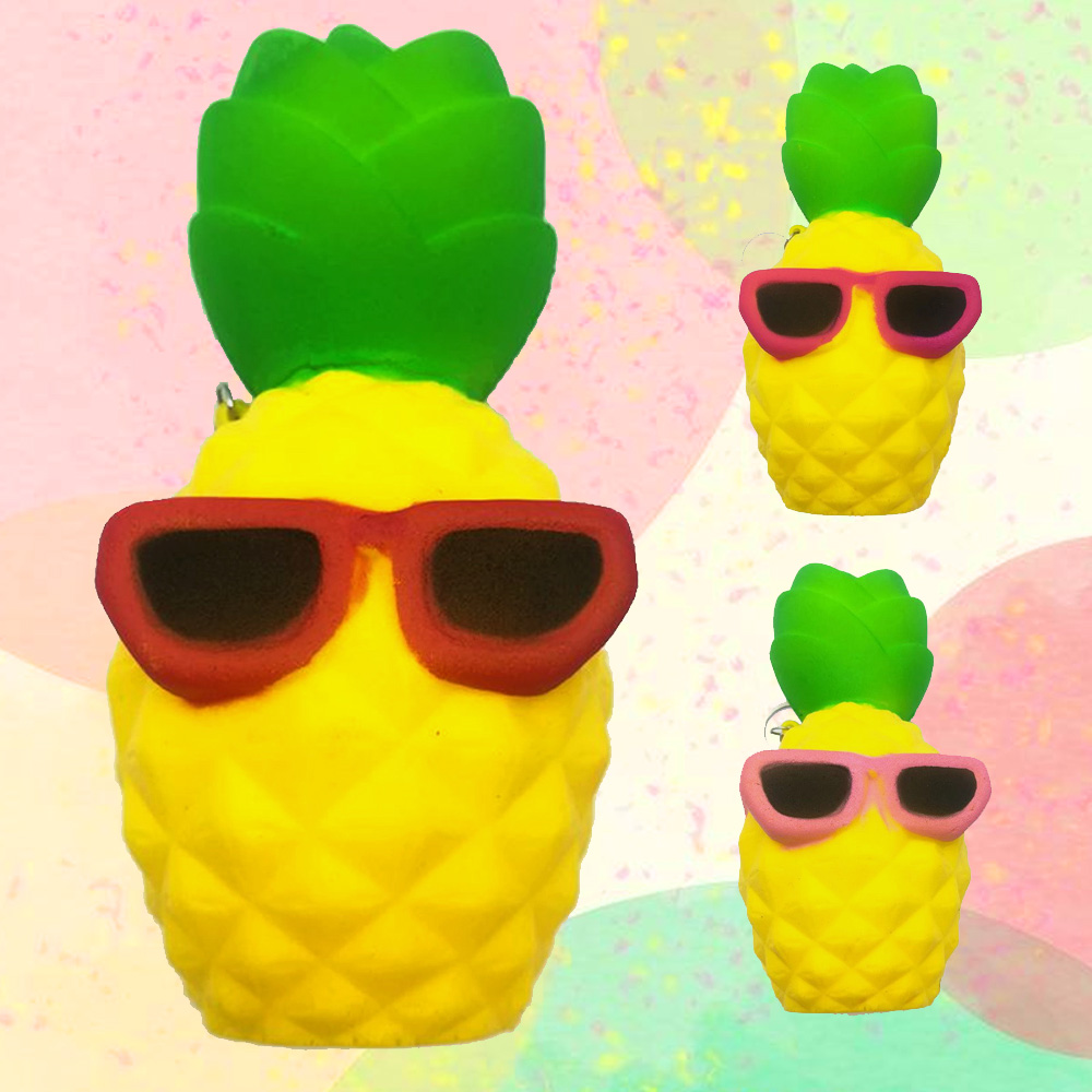 Satkago Cute Slow Rising Squishy Toy Artificial Pineapple Shape Relieves Stress Toy &Chain for Children Adults Anxiety Attention
