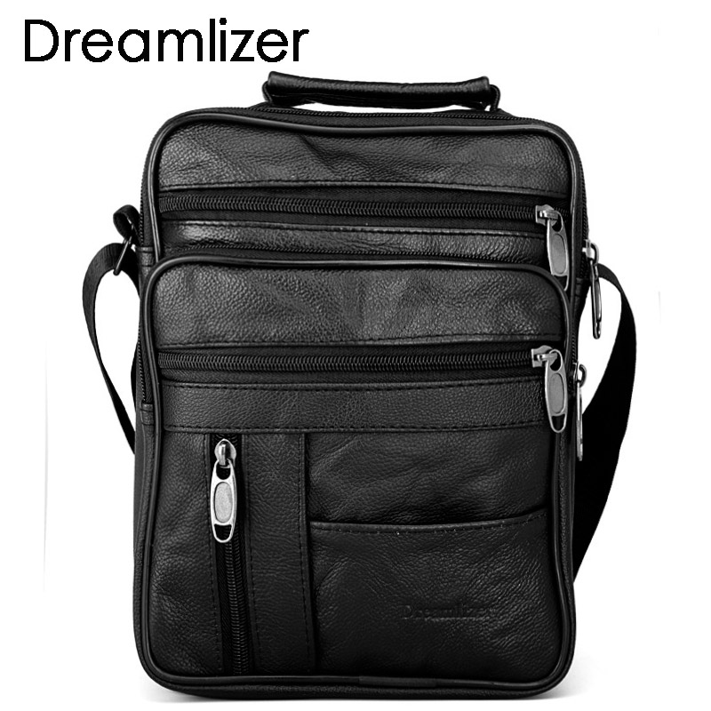 Dreamlizer Real Cowhide Leather Men Handbags Black Messenger Mens Bags Lelaki Kecil Strapable Handbags Briefcase Man Crossbody Bags