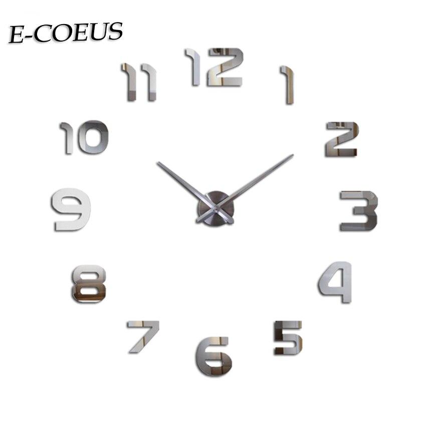 European Style Wall Clocks Chic 3D Beautiful Mirror Watch Big Digital  Exquisite Gift Free Shipping