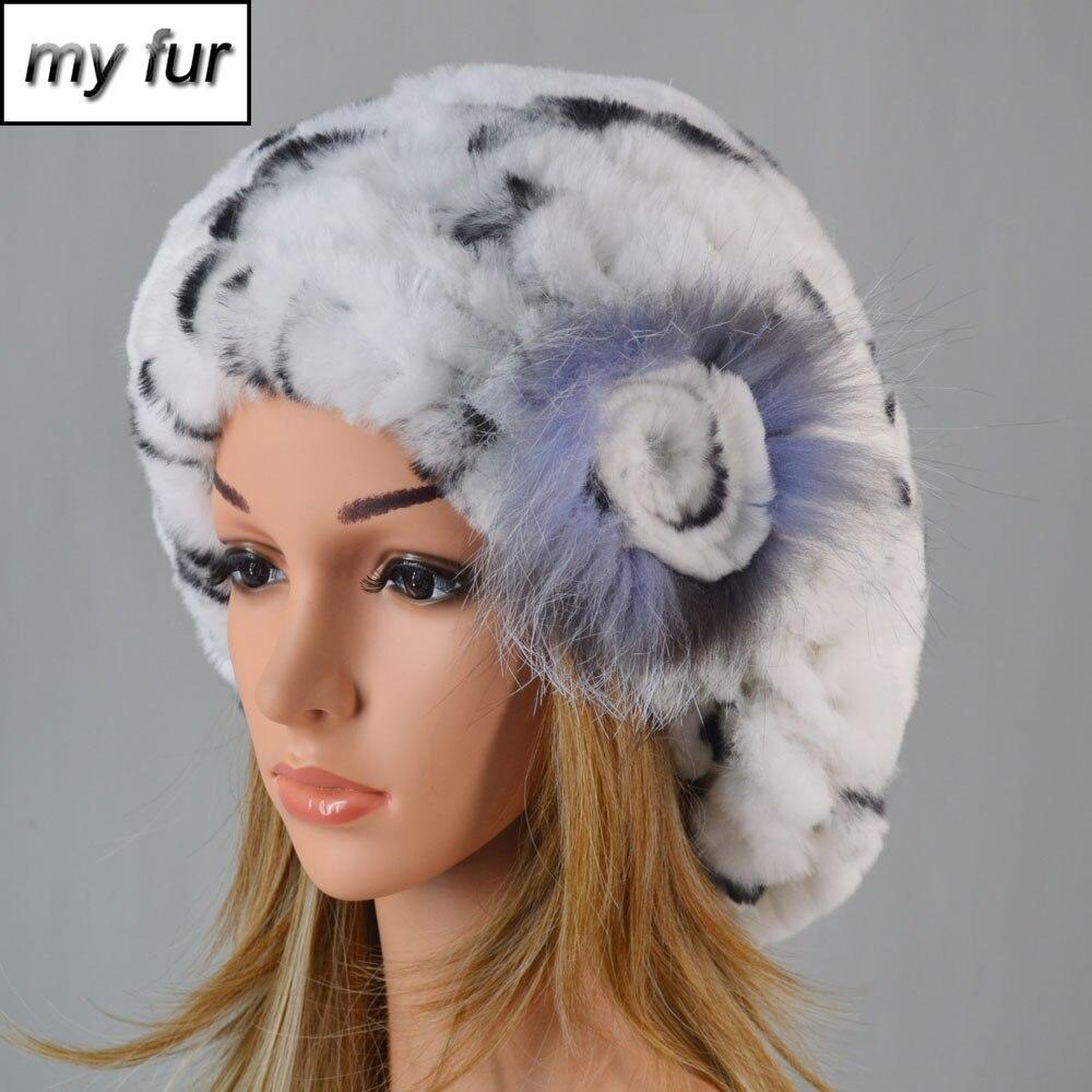 New Women Knitting Real Rex Rabbit Fur Hat 100% Natural Soft Real Rex Rabbit Fur Caps Lady Winter Warm Real Rex Rabbit Fur Hats