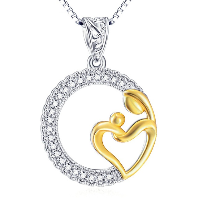 925 sterling silver mother children golden heart in roung crystal 925 sterling silver mother children golden heart in roung crystal pendant necklace with silver box aloadofball Images