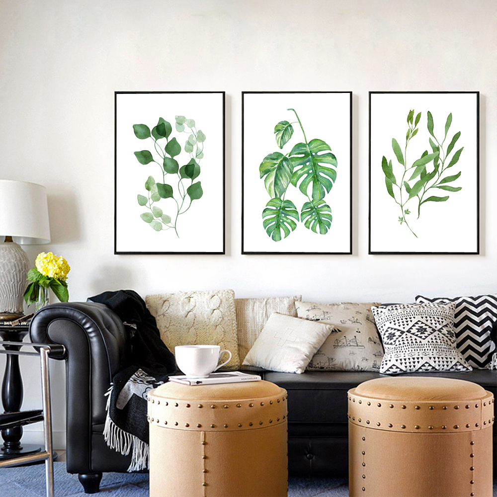 Hot! Watercolor Plants Canvas Art Print Poster Fern Canvas Painting ...