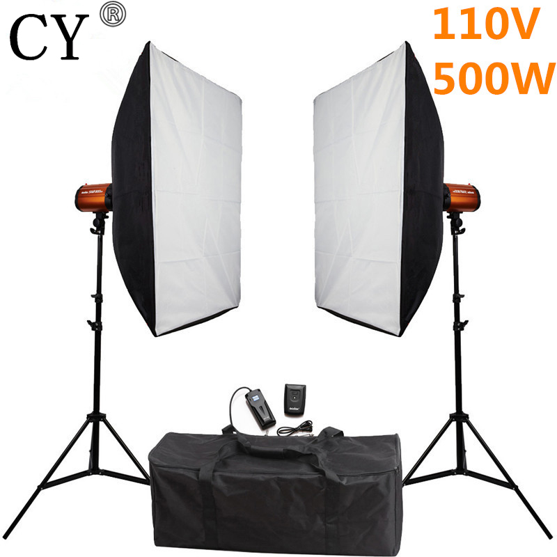 CY Photography Studio Soft Box Flash Lighting Kits 500w 110V Flash Light*2+Softbox*2+Stand*2 For Photo Studio Godox Smart 250SDI godox smart 300sdi photography studio soft box flash lighting kits 600ws strobe light softbox stand set photo studio accessories
